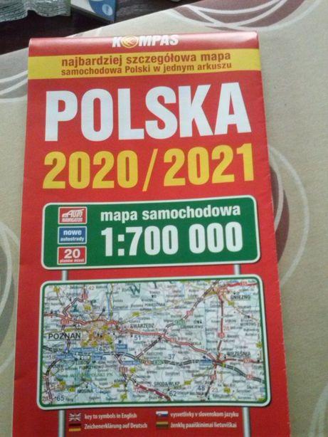 Mapa samochodowa Polski 2020/2021