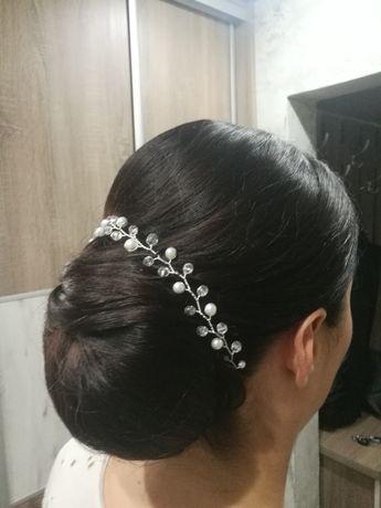 Ozdoba do włosów gałązka kryształ perły
