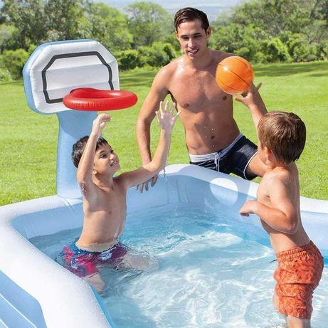 Детский надувной бассейн Intex с баскетбольным кольцом