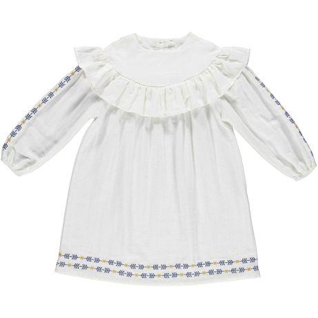 KALEIDOSCOPE Vestido branco bordado de menina - 100% Algodão - 6 anos