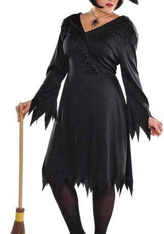 Платье ведьмы на запах черное костюм на хеллоуин