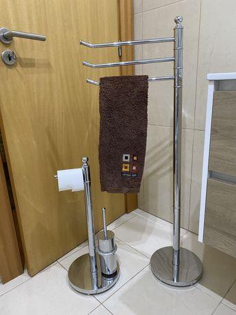 Suporte de toalhas + porta rolos em INOX