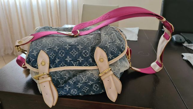 Torba torebka na ramię dżinsowa Louis Vuitton różowy pas