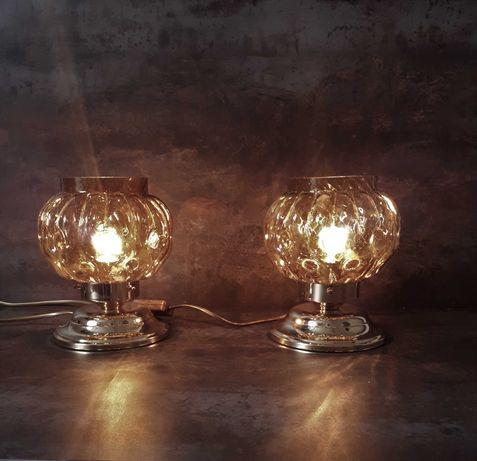 Lampa lampki 2 szt. metal-szkło lata 60 PRL