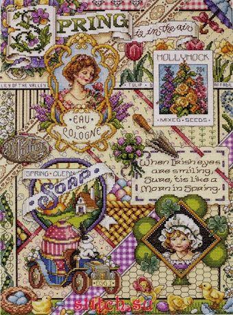 """Схема для вышивания крестом """"Spring Sampler//Весенний сэмплер"""" Janlynn"""