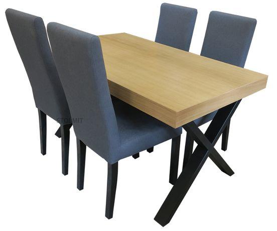 Stół loft industrialny nogi stal x 4 krzesła komin na każdy wymiar