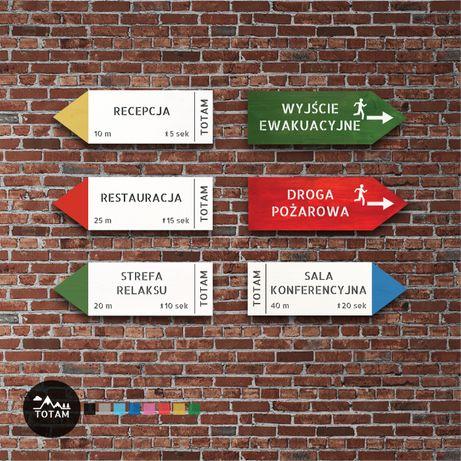 tabliczki informacyjne, drewniane jak drogowskazy górskie BHP