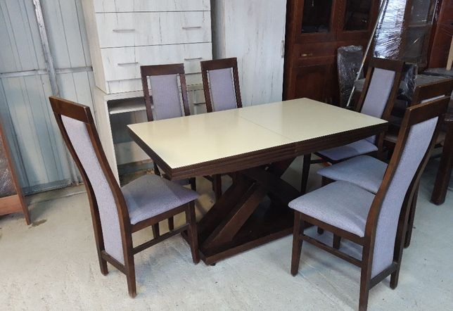 Stół 140x80x40 lacobel na blacie + 6 krzeseł
