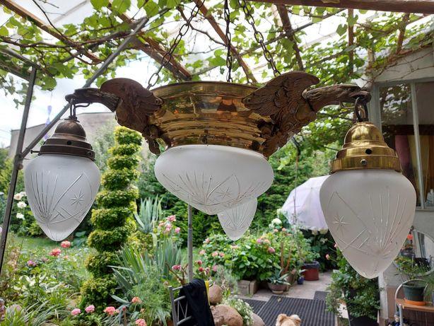 Lampa wisząca stylowa - żyrandol mosiężny - kryształowe klosze