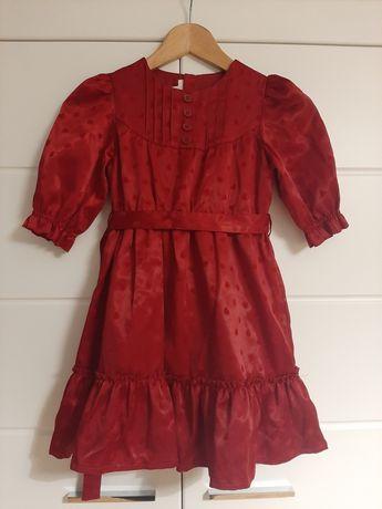 Elegancka sukienka dziewczęca H&M z falbanami r. 116 (5-6 lat)