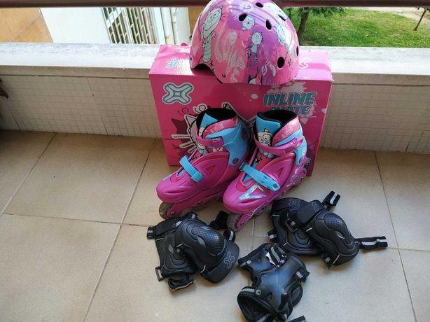 Conjunto patins c/leds + proteções + capacete