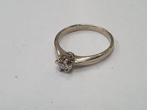 YES! Piękny złoty pierścionek damski/ 585/ 2.47 gram/ R14/ Dia 0.15 CT