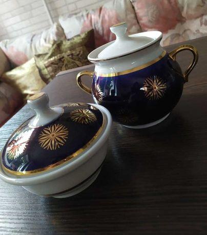 Сервиз Довбыш 70г СССР Сахарница Масленка старинный посуда кобальт
