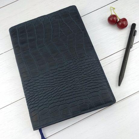 Кожаная обложка для ежедневника / блокнота ф. А5 Lika (синий)