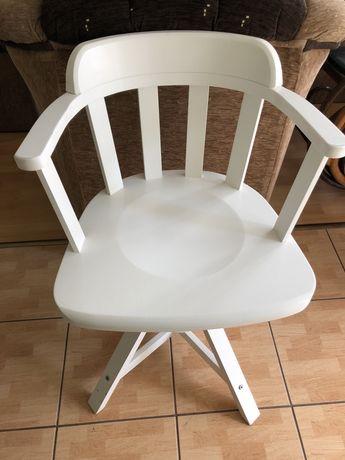 Obrotowe krzesło do biurka, białe drewniane
