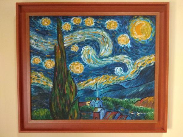Reprodução pintada a óleo a noite de Van Gogh