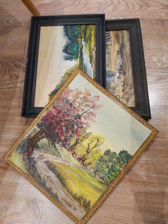 Trzy obrazy ręcznie malowane