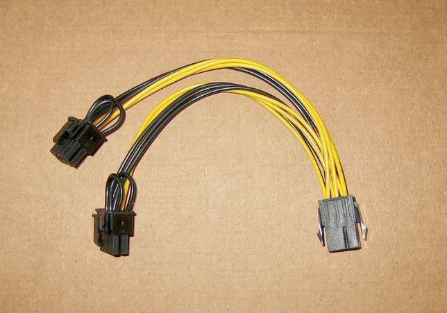 Кабель переходник PCI-E питания видеокарты 6 пин на два по 8 (6+2) пин