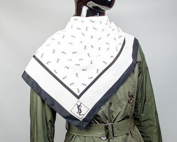 Фирменный шелковый большой платок Yve Saint Laurent Monogram.