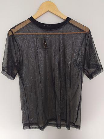 Armosphere nowa koszulka bluzka top mgiełka przezroczysta czarna M L