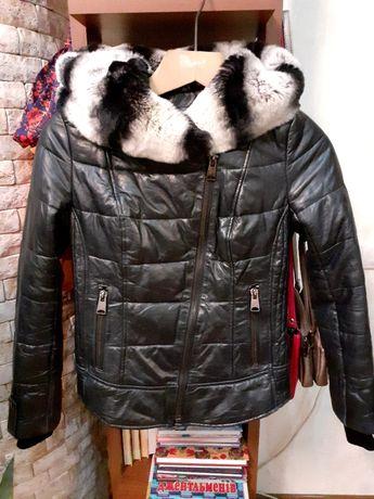 Кожанная курточка с натуральным мехом
