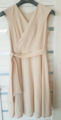 Suknia na ślub beżowa ze złotymi drobinkami cywilny 42 Elizabeth