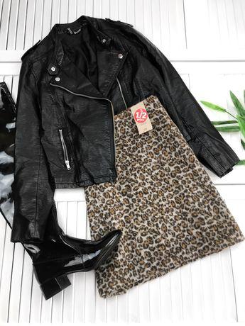 Бежевая юбка в леопардовый принт