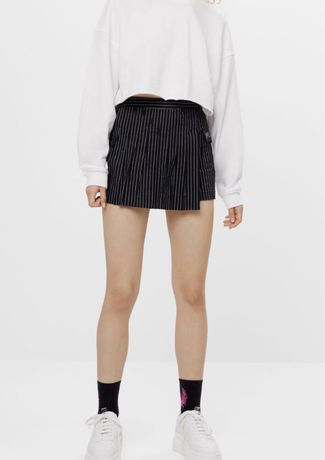 Czarne spódnicospodnie spodenki w paski bershka
