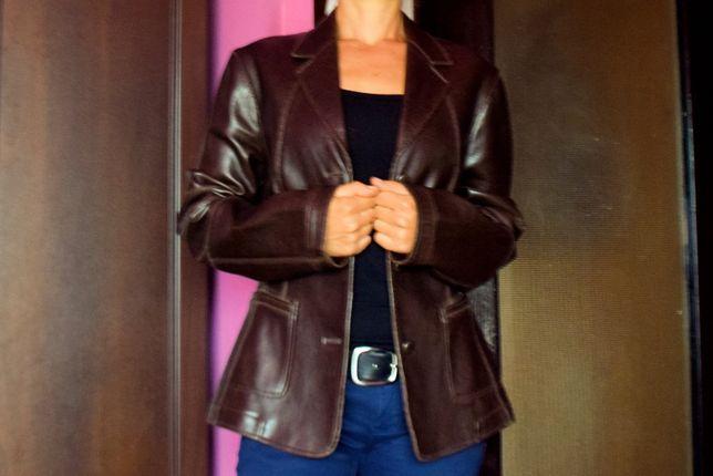Skórzana kurtka, marynarka, żakiet BLACKY DRESS brązowa, długie rękawy