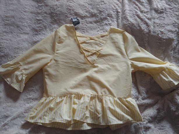 Primark nowa wiosenna bawełniana bluzka w żółte paski rozmiar 46