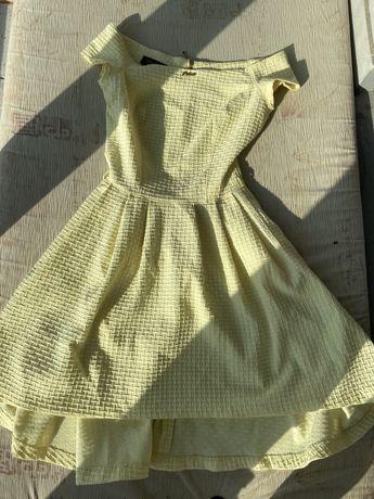 Желтое летнее платье