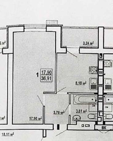 Сданный дом на Гидропарке ! 1 комнатная квартира в 4 доме ZA