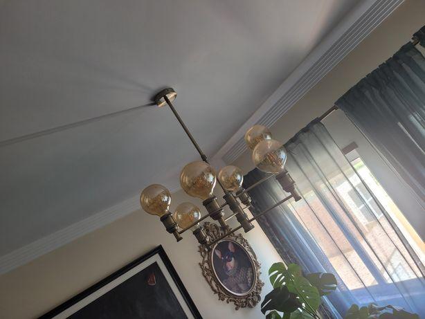 Candeeiro de teto com 6 lâmpadas Dourado envelhecido