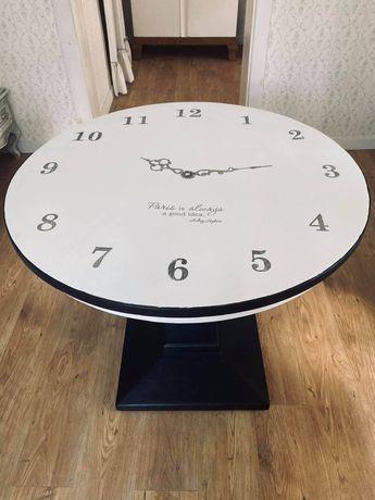 Stół okrągły, stół loft, stół czarny, stół zegar