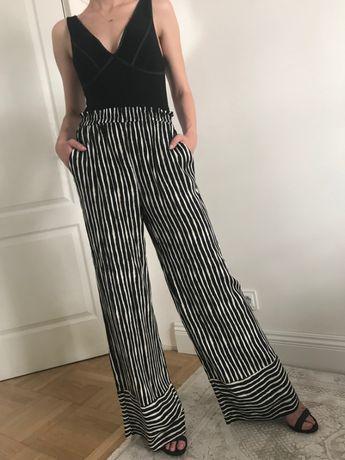 Eleganckie maxi zwiewne spodnie H&M palazzo paski wzorzyste S