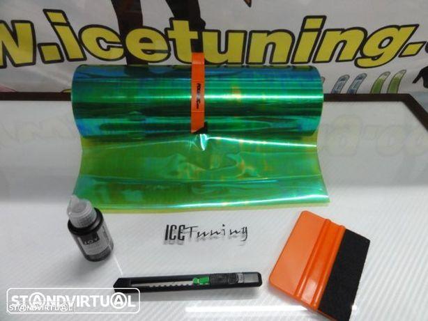 Kit Pelicula para farois Verde Camaleao 0.30m X 1m + x-ato + liquido / solução de limpeza e de instalação temos 39 cores em stock