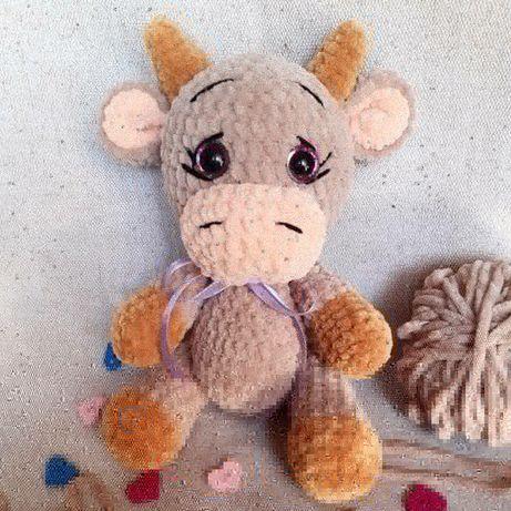 Бык бычок вязаный плюшевый игрушка подарок
