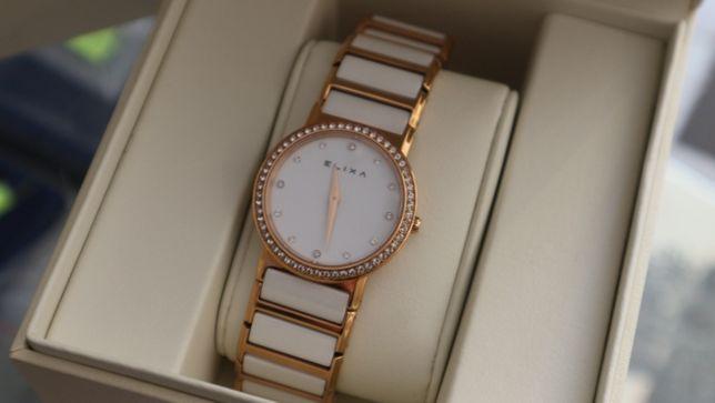 Elixa ceramica rose gold zegarek damski