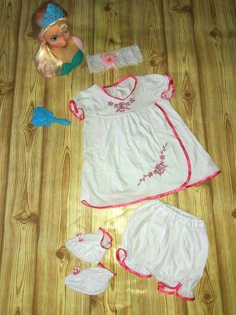 Набор,комплект,летний костюм,костюм для крещения,туника,шорты,повязка
