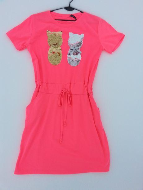 Sukienka damska neonowa różowa