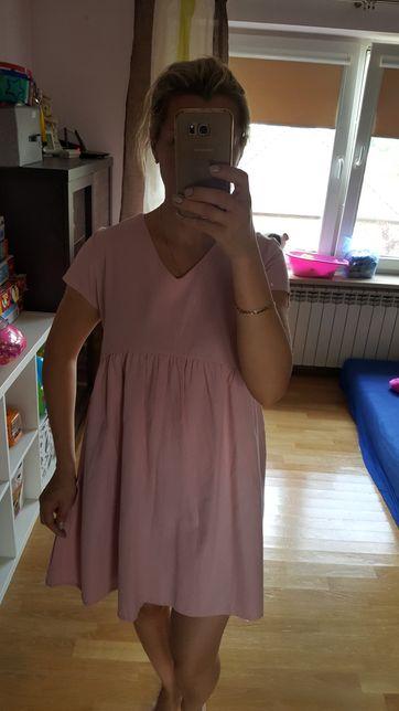 NOWA Sukienka oversize ciążowa pudrowy róż r. M