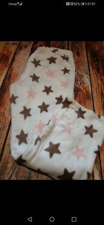 Grube spodnie polarowe białe w gwiazdki świąteczne piżamka rozmiar XXL