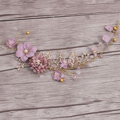 Kwiat Ozdoba Włosów Ślub Złoto Fiolet ślub grzebień stroik