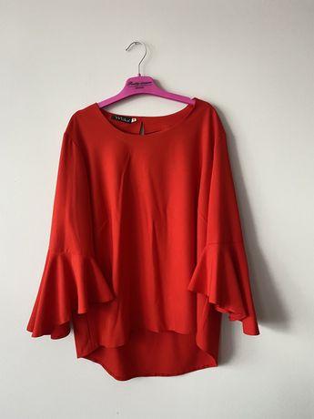 Czerwona bluzka koszula falbanki