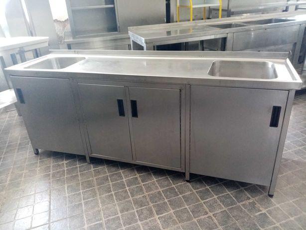 Bancada de lavagem inox 2 cubas ACM123 - Usado
