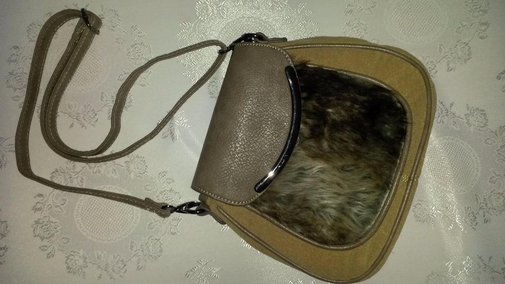 Beżowa listonoszka skóra naturalna futerko Kraczkowa - image 1