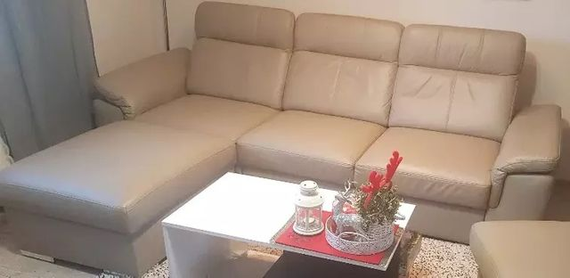 Kanapa sofa narożnik z funkcja spania bardzo wygodna skóra podnóżek pu