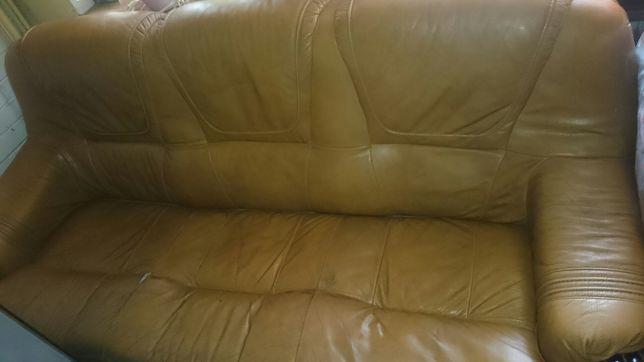 Kanapa,sofa rozkładana + 2 fotele skóra meble Kler OKAZJA!