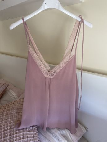 Top estilo lingerie lilás Zara - tamanho XS - 10€