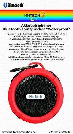 Głośnik przenośny Heitech Bluetooth IPX6 3W czerwony
